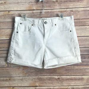 J Crew White Denim Cut Off Shorts Sz 28